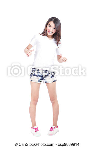 Young beauty girl show blank white T-shirt - csp9889914