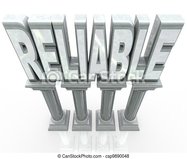 Stock Illustration of Reliable Word on Columns Dependable ...