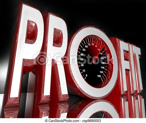 Profit Word Speedometer Improve Sales Increase Revenue - csp9890053