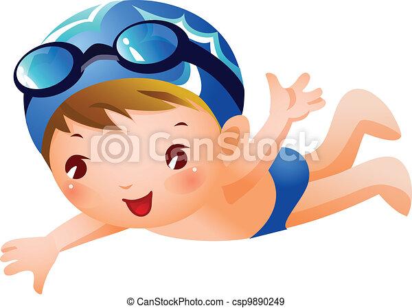 vecteurs eps de gar on nageur a gar on est natation porter bleu csp9890249. Black Bedroom Furniture Sets. Home Design Ideas