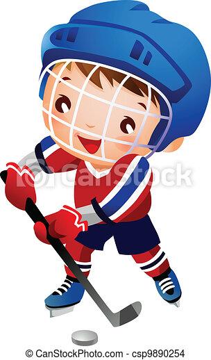 Boy ice hockey player  - csp9890254