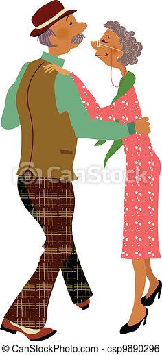 Senior adult dancing together  - csp9890296