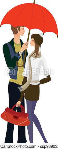 Couple standing under one umbrella  - csp9890329