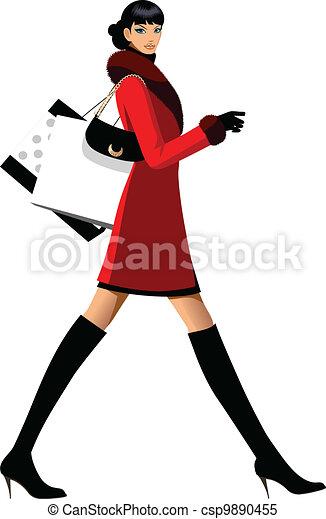 Side view of woman walking  - csp9890455