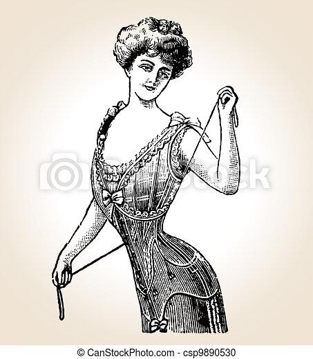 Vector vintage woman - csp9890530