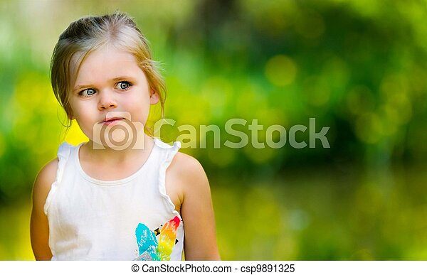 Portrait of a little girl looking into space - csp9891325