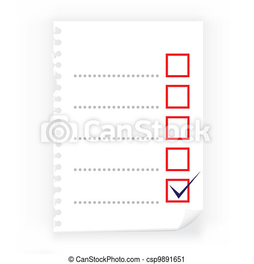 Close up of checkbox notepad paper - csp9891651