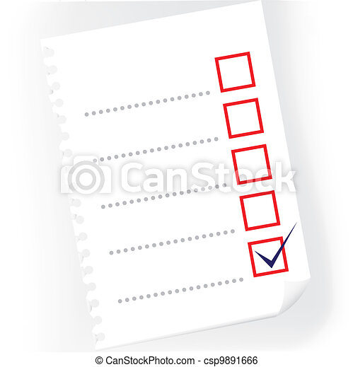 Close up of checkbox notepad paper - illustration - csp9891666
