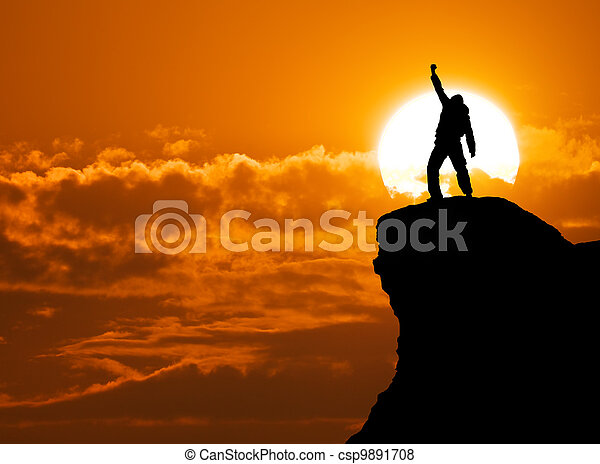 Man on top of mountain - csp9891708