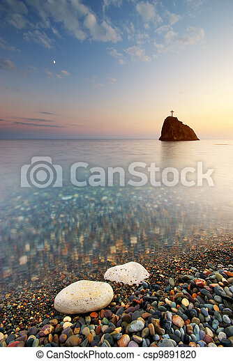 Sea and rock at the sunset - csp9891820