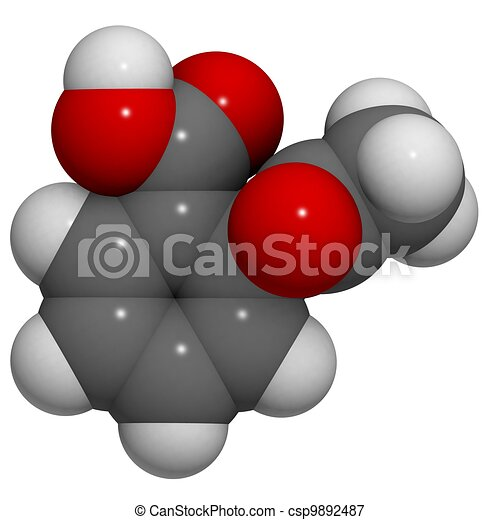 Aspirin (acetylsalicylic acid): molecular structure (3D) - csp9892487