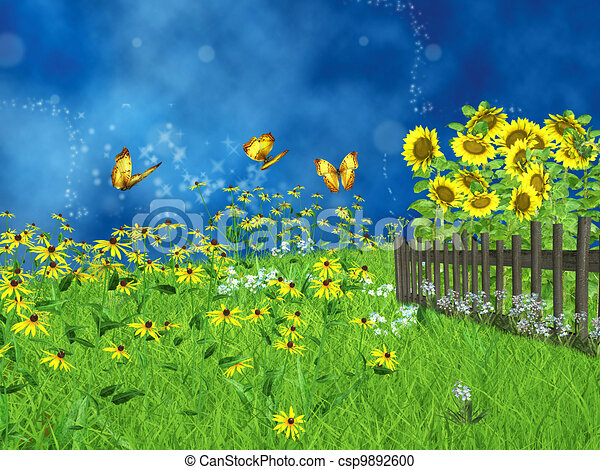 fairy tale lawn with sunflowers - csp9892600