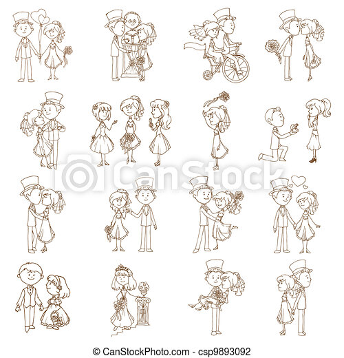 Wedding Doodles - Design Elements - for Scrapbook, Invitation in vector - csp9893092