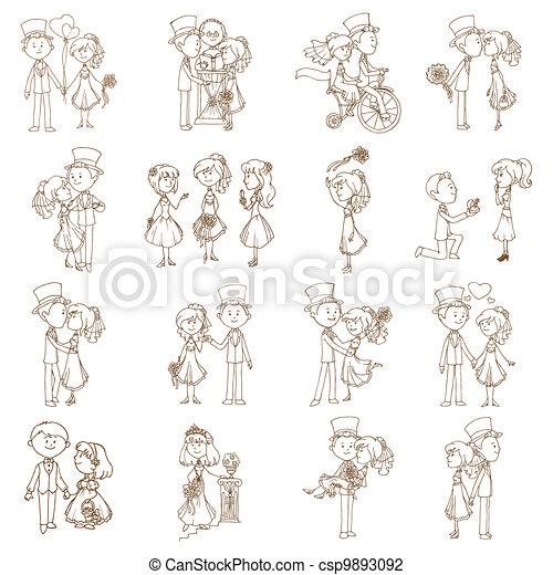 Wedding Doodles - Design Elements - for Scrapbook, Invitation in vector - csp9893092
