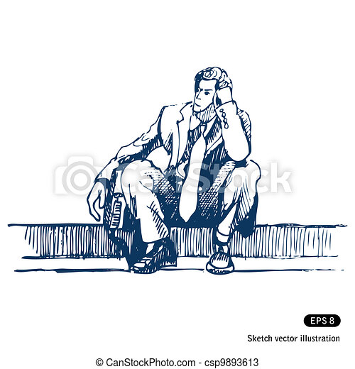 Businessman sitting on step - csp9893613