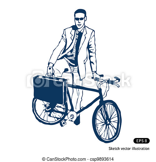 Businessman with his case and bike - csp9893614