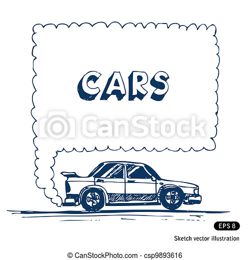 Car blowing exhaust speech bubble - csp9893616