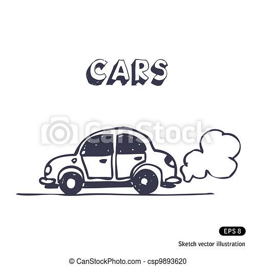 Cartoon car blowing exhaust fumes - csp9893620