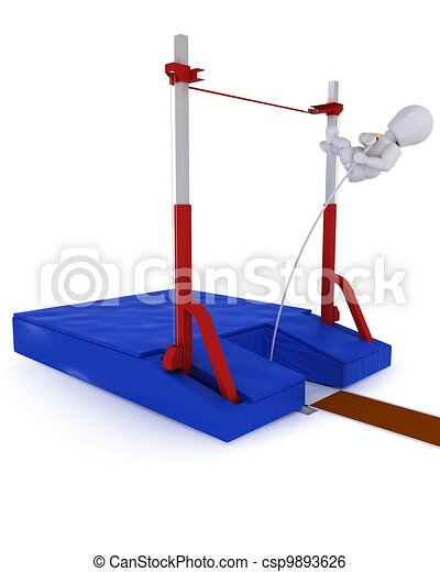 man competing in the pole vault - csp9893626