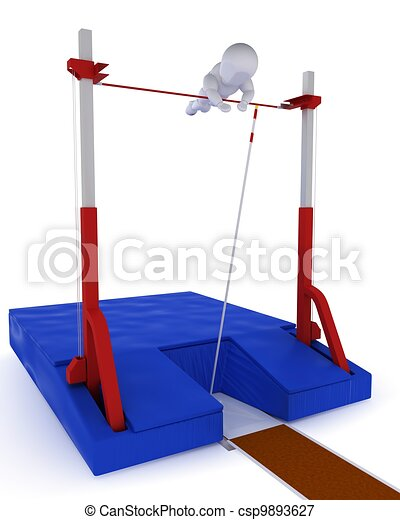 man competing in the pole vault - csp9893627