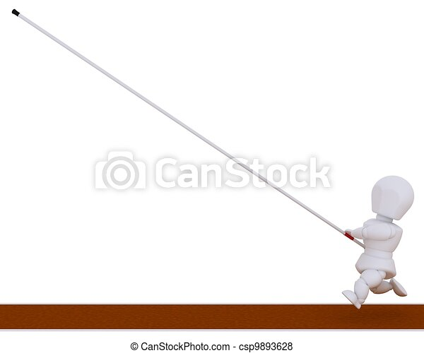 man competing in the pole vault - csp9893628