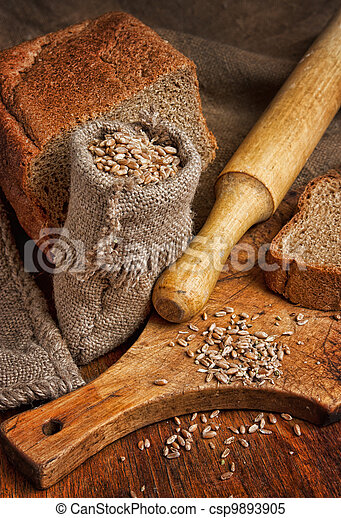 bag of wheat in the bakery - csp9893905