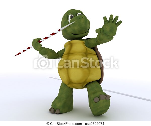 tortoise competing in javelin - csp9894074