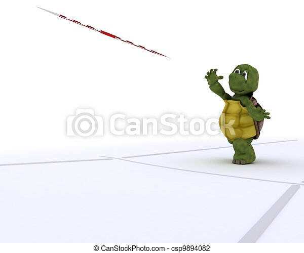 tortoise competing in javelin - csp9894082