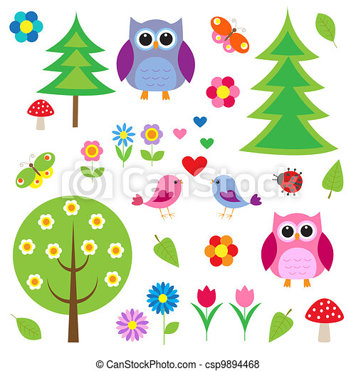 Birds, tress and owls - csp9894468