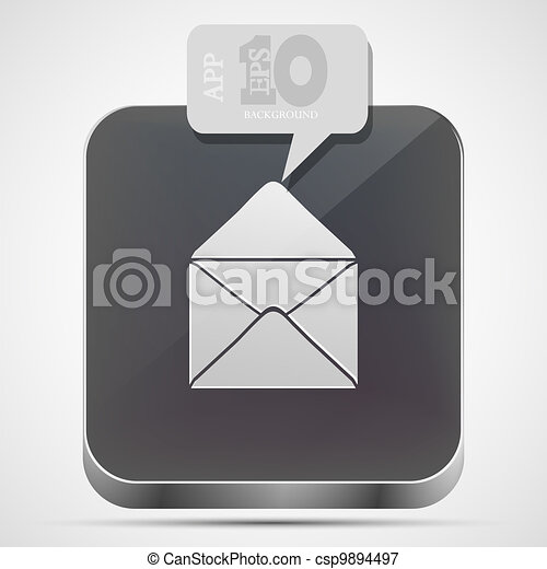 Vector mail app icon with gray bubble speech. Eps10 - csp9894497