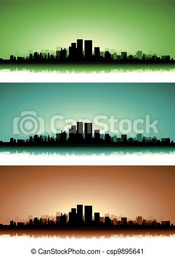 Summer Cityscape Banner Set - csp9895641