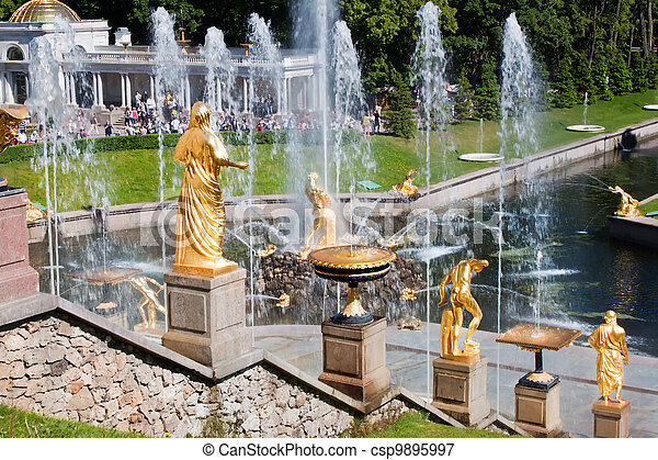 Fountain and golden statues in Peterhof - csp9895997