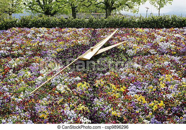 famous flower clock, landmark of Geneva, Switzerland - csp9896296
