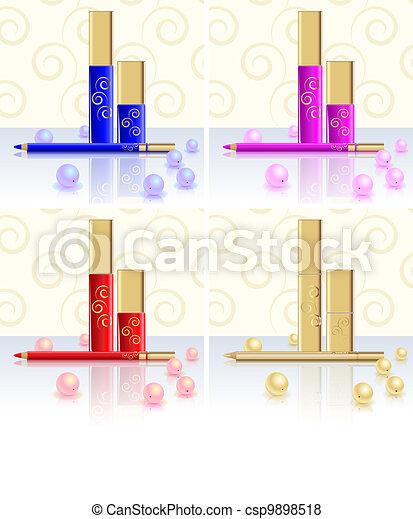Mascara, lipstick, pencil, Pearl - csp9898518