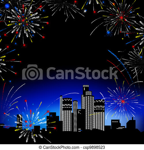 Fireworks. Multi-storey buildings. - csp9898523