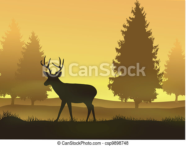Deer with nature background - csp9898748