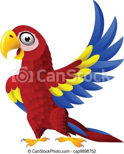 Detailed funny macaw bird cartoon  - csp9898752