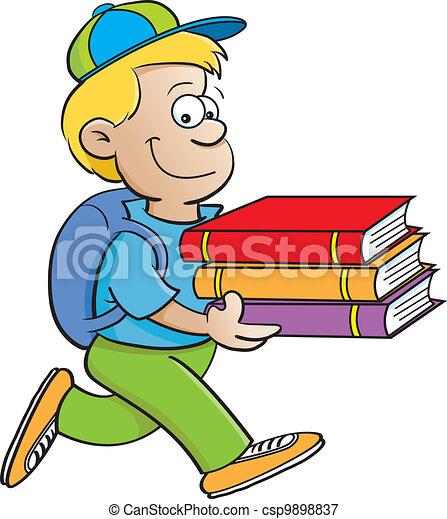Ilustraciones vectoriales de niño, proceso de llevar, Libros ...