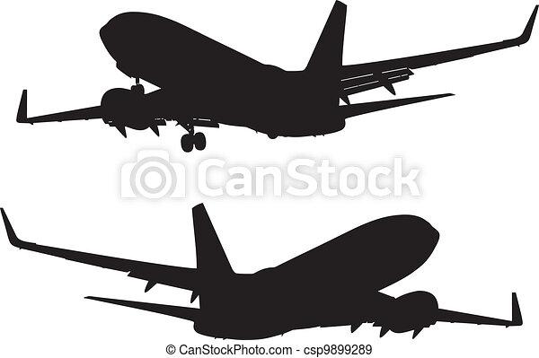 silhouette of landing passenger air - csp9899289