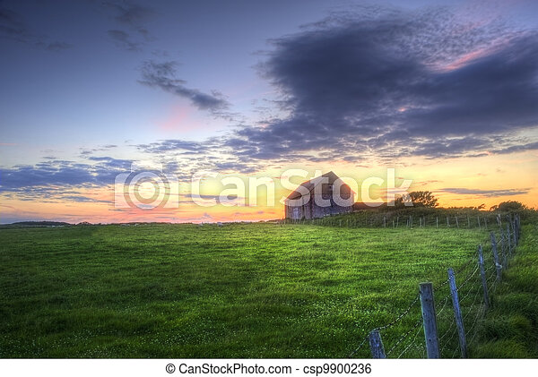 solnedgång, gammal, landskap, Ladugård - csp9900236