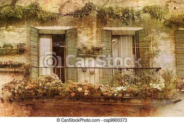 Romantic vintage balcony. - csp9900373