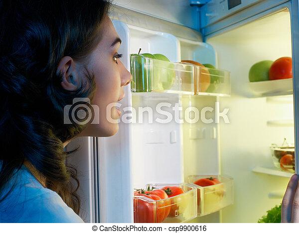 fridge with food - csp9900616