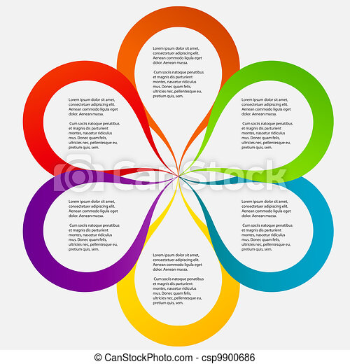 Concept of colorful circular banners in flower form for different business design. Vector illustration - csp9900686