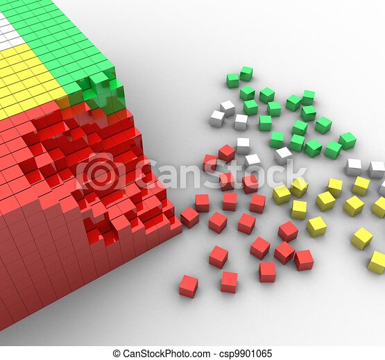 3d colorful cubes on a white background - csp9901065