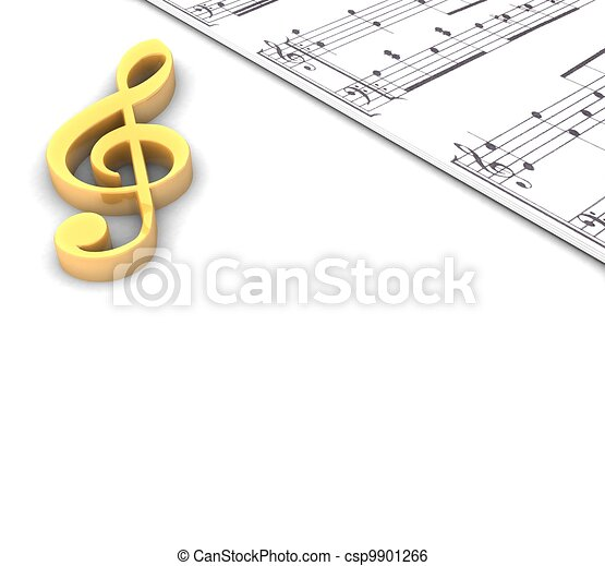 3d golden treble clef music paper around on a white background - csp9901266