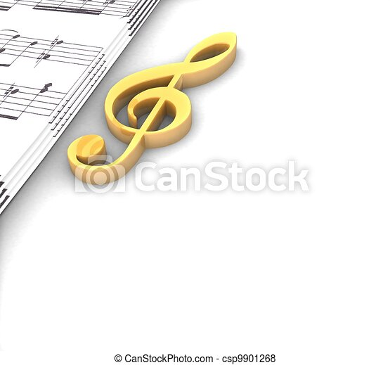 3d golden treble clef music paper around on a white background - csp9901268