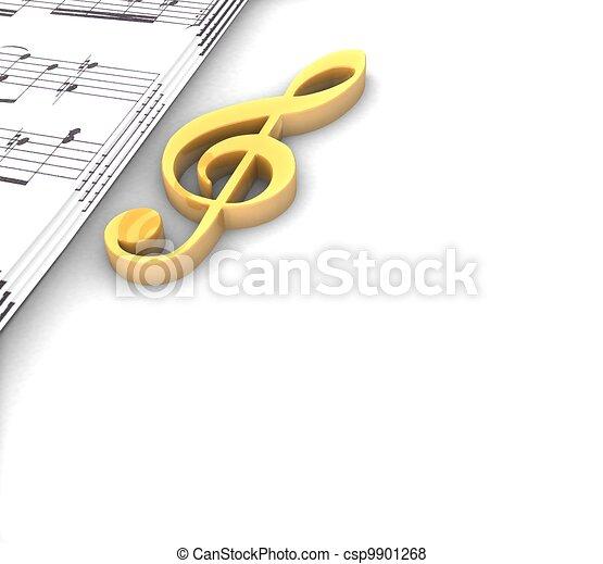3d golden treble clef music paper around on a white background - csp9901268