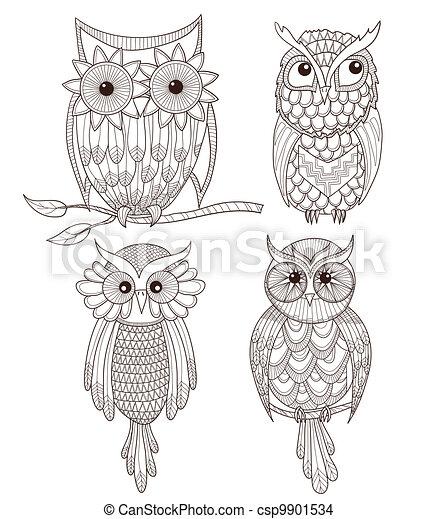 Set of cute owls. - csp9901534
