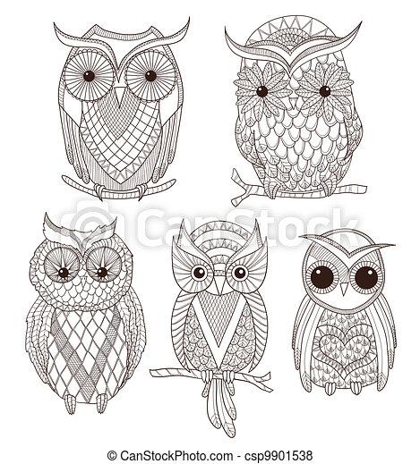 Set of cute owls. - csp9901538
