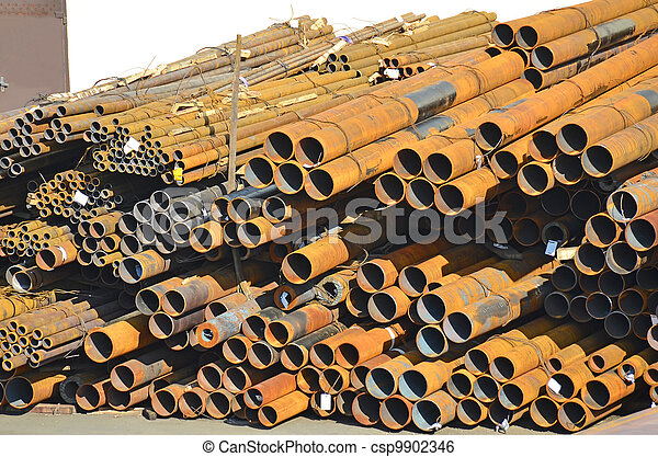 Stacked rusty steel pipe ready for shipment - csp9902346